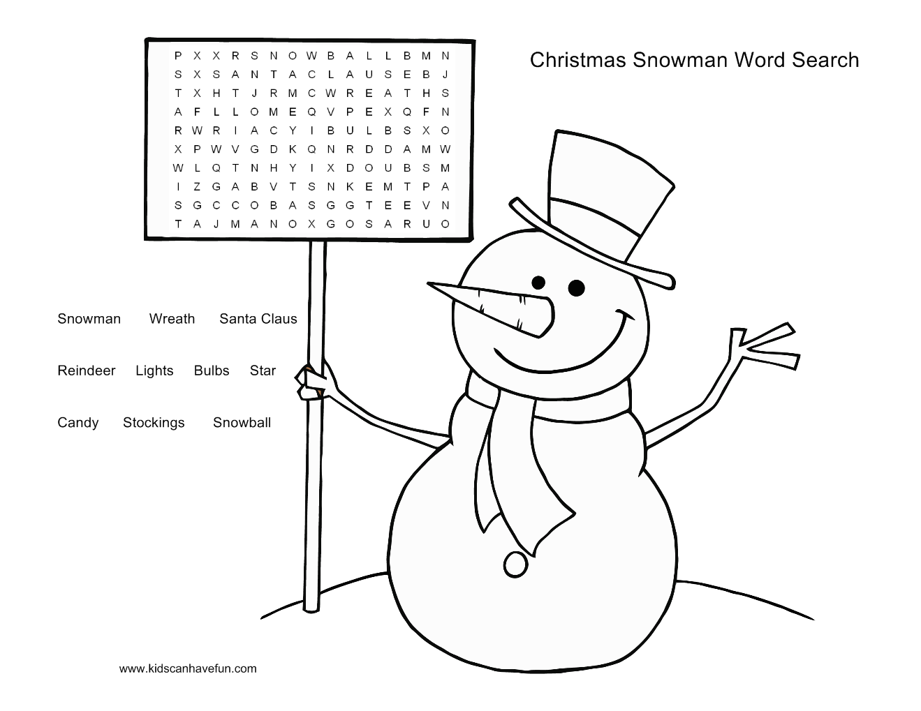 6 Easy Christmas Word Search Printables