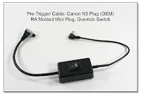 Pre-Trigger Cable: Canon N3 Plug (OEM) with RA Molded Mini Plug & Override Switch