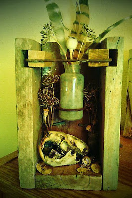 ©2012 Lauren T Kistner. Light at the End of the Tunnel. Found object Vanitas Assemblage.