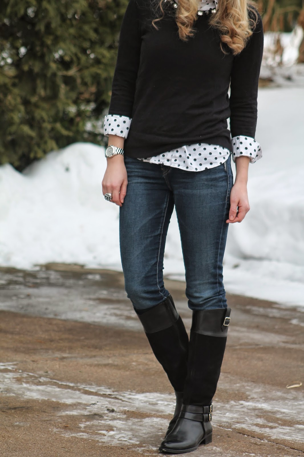 polka dot button up jeweled collar sweater purple hat jeans black boots