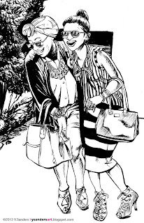 Two fashionable girls laughing done in ink.