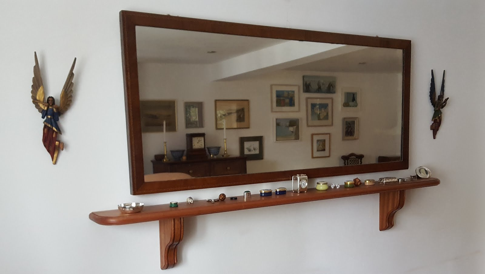 mantel shelf with corbels in sapele