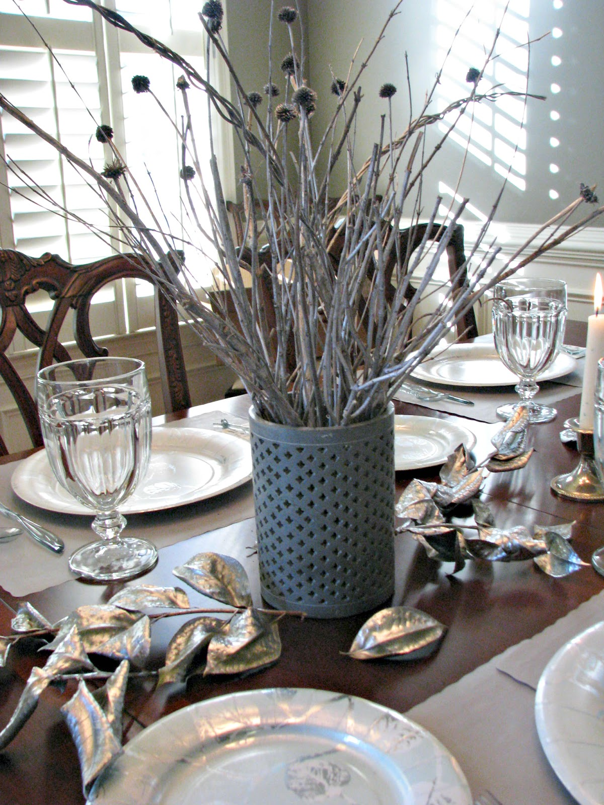 Silver and Teal Brunch Table Decor