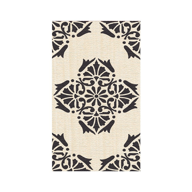 Krsna Mehta - designer motif rug black and white