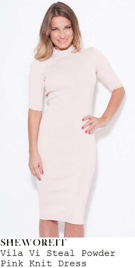 sam-faiers-light-pink-half-sleeve-turtle-high-neck-knit-bodycon-midi-dress-perfume-launch