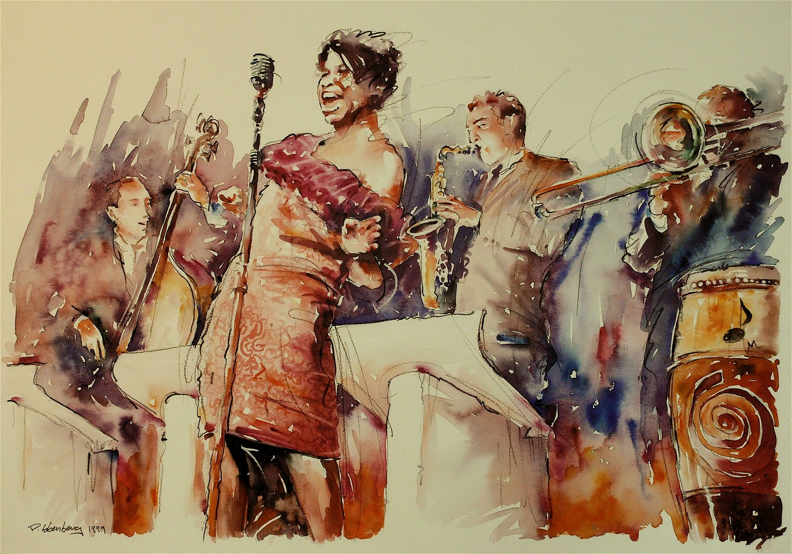 Watercolor artists names - Herewith Are The Names Of The Four Great 20th Century Jazz Artists That I Watercolor Awhile Back And Showed In My Previous Post They Are Ella Fitzgerald