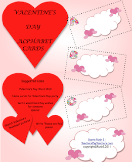 valentine's day alphabet cards language arts