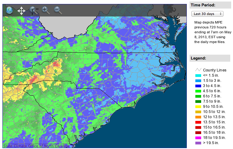 A map of rainfall estimates