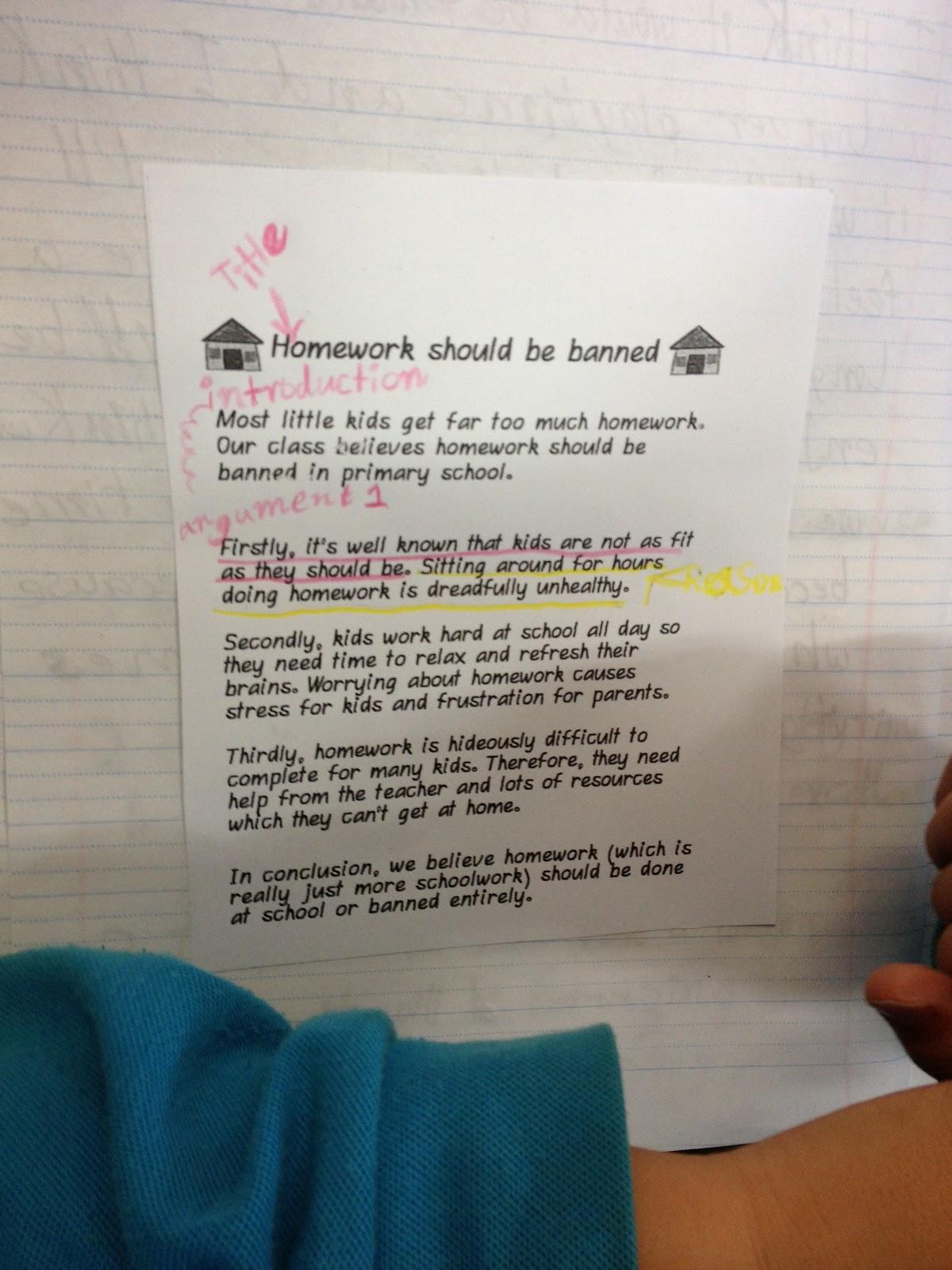 essay on homework should be banned