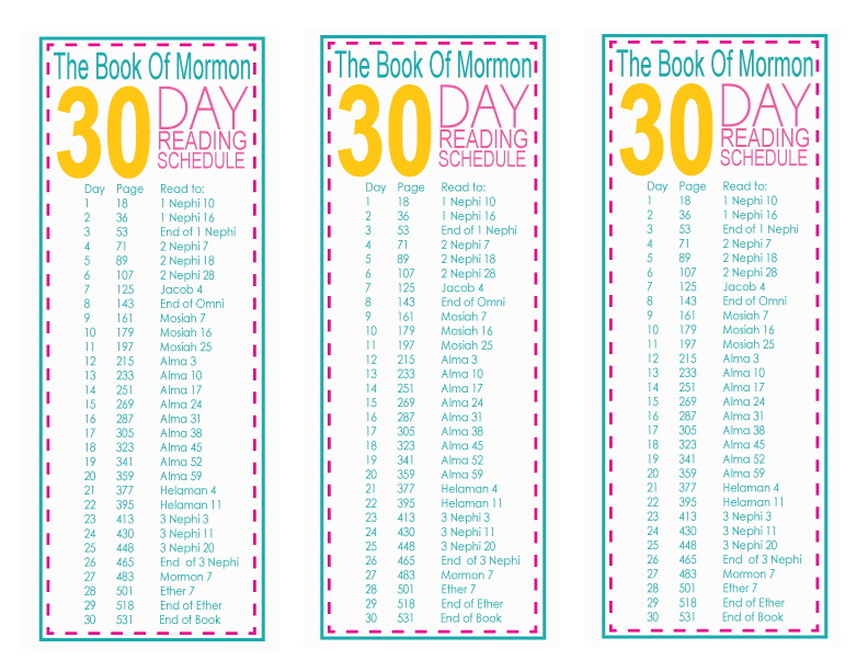 ... In Mind: Book Of Mormon 30 Day Reading Challenge Free Printable