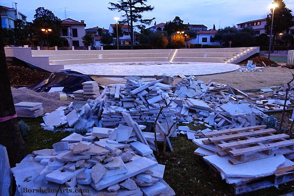 Dawn rising over the new amphitheatre construction Sea Walk Umag Croatia