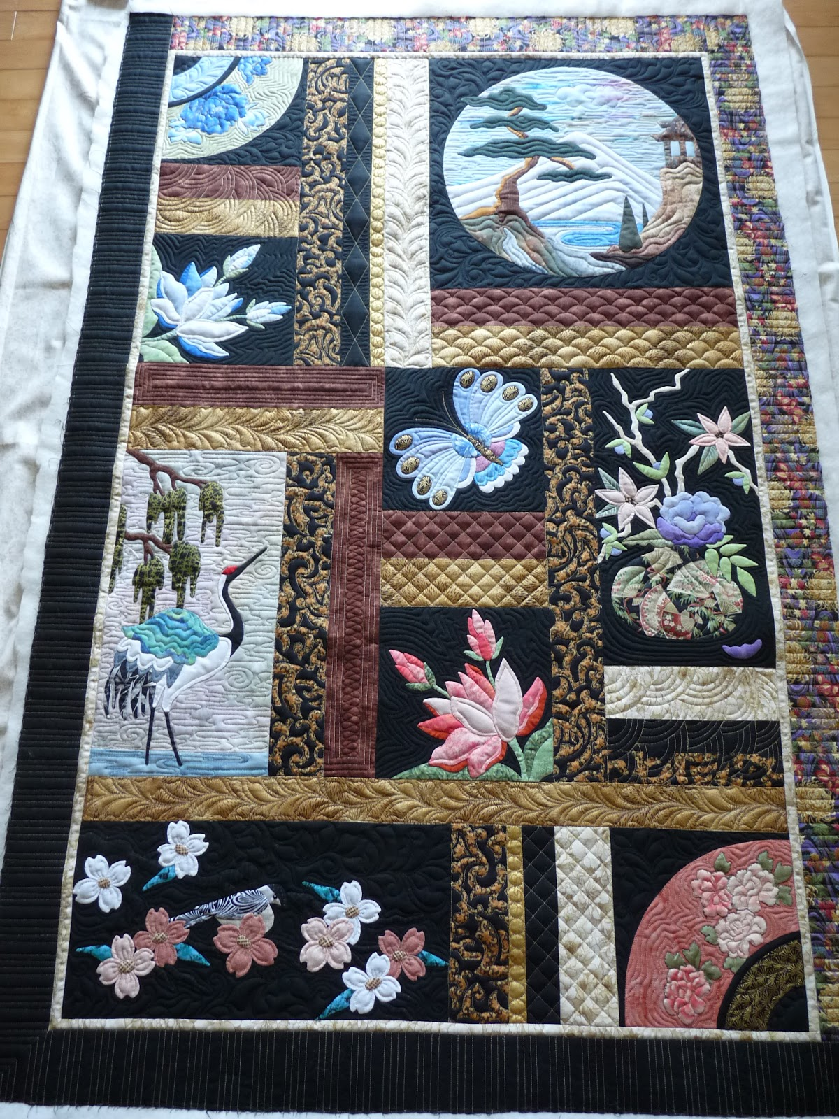 Asian quilting fabric panels the valuable