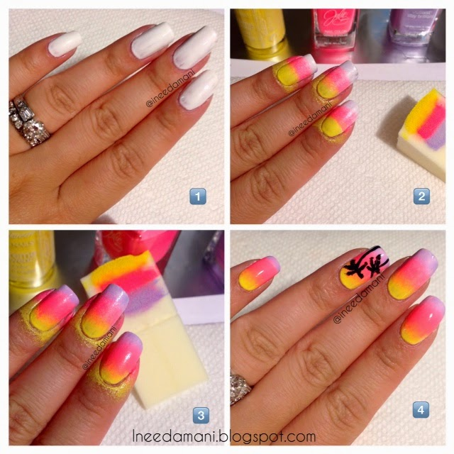 how to sunset and palm trees nails inspired by sonailcious