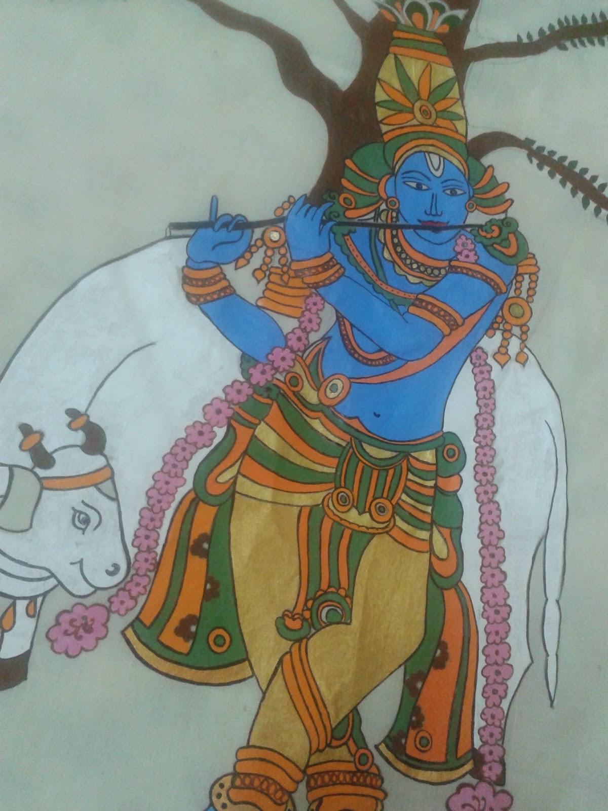krishna mural design
