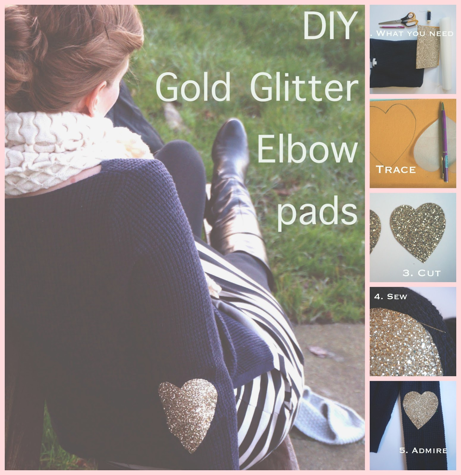 meg-made: Gold glitter heart elbow pads DIY