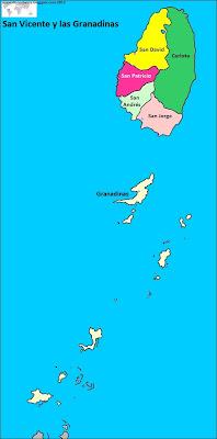 Mapa de San Vicente y las Granadinas , organización territorial