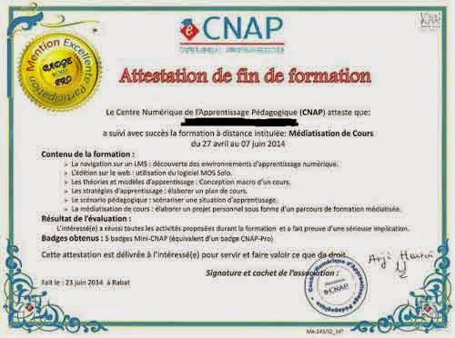 CNAP= Centre numérique d'Apprentissage Pédagogique