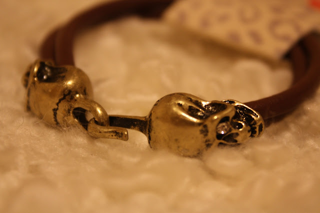 Miss Selfridge Vintage Gold Skull Bracelet