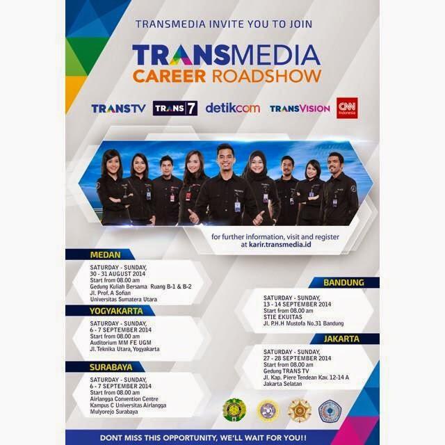 Jadwal dan Tempat Career Roadshow Transmedia 2014