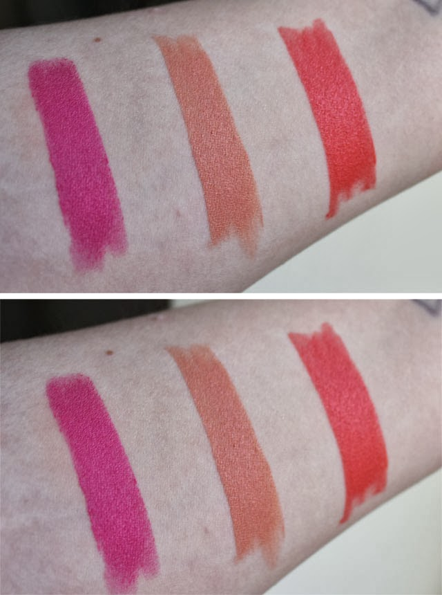 e.l.f. Studio Moisturizing Lipstick swatches Flirty & Fabulous, Party in the Buff, Coral Cutie