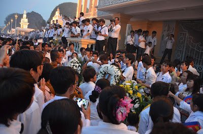 Return of body of King Norodom Sihanouk, crowd at Royal Palace, Phnom Penh, Cambodia