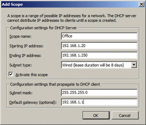 name and description for scope in windows 2008 server