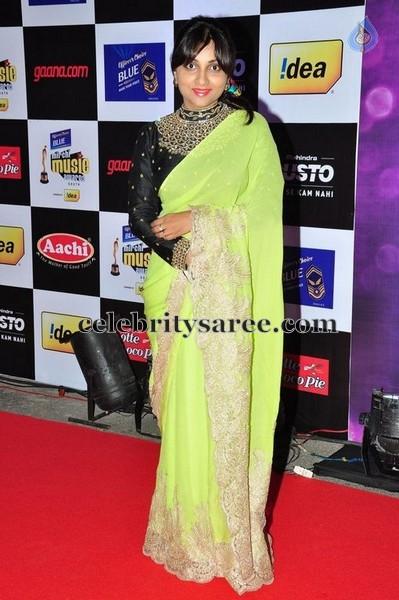Green Sari Full Hands Black Blouse