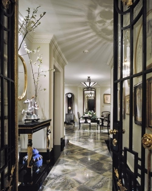 elegant black white and gray marble foyer design