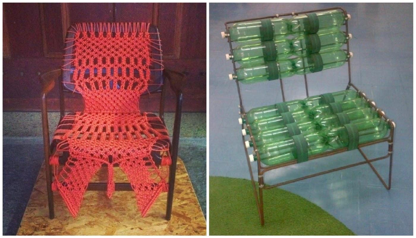 cadeira de Sérgio Rodrigues transformada @vividecorviva e cadeira com garrafas pet @mercadoartedesign