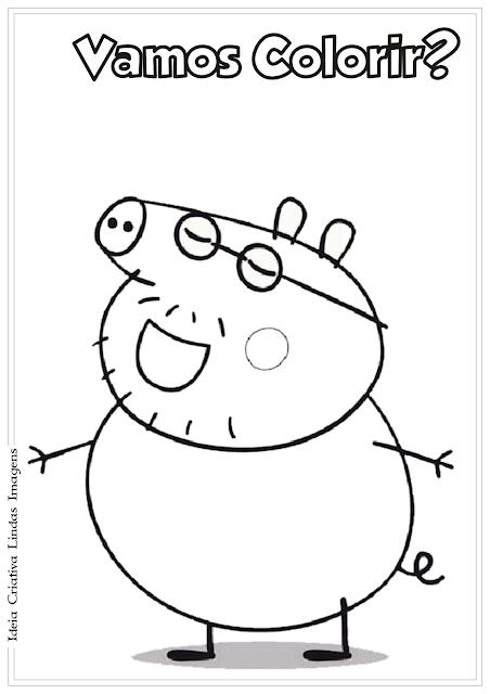 Peppa Pig Pai desenho para colorir