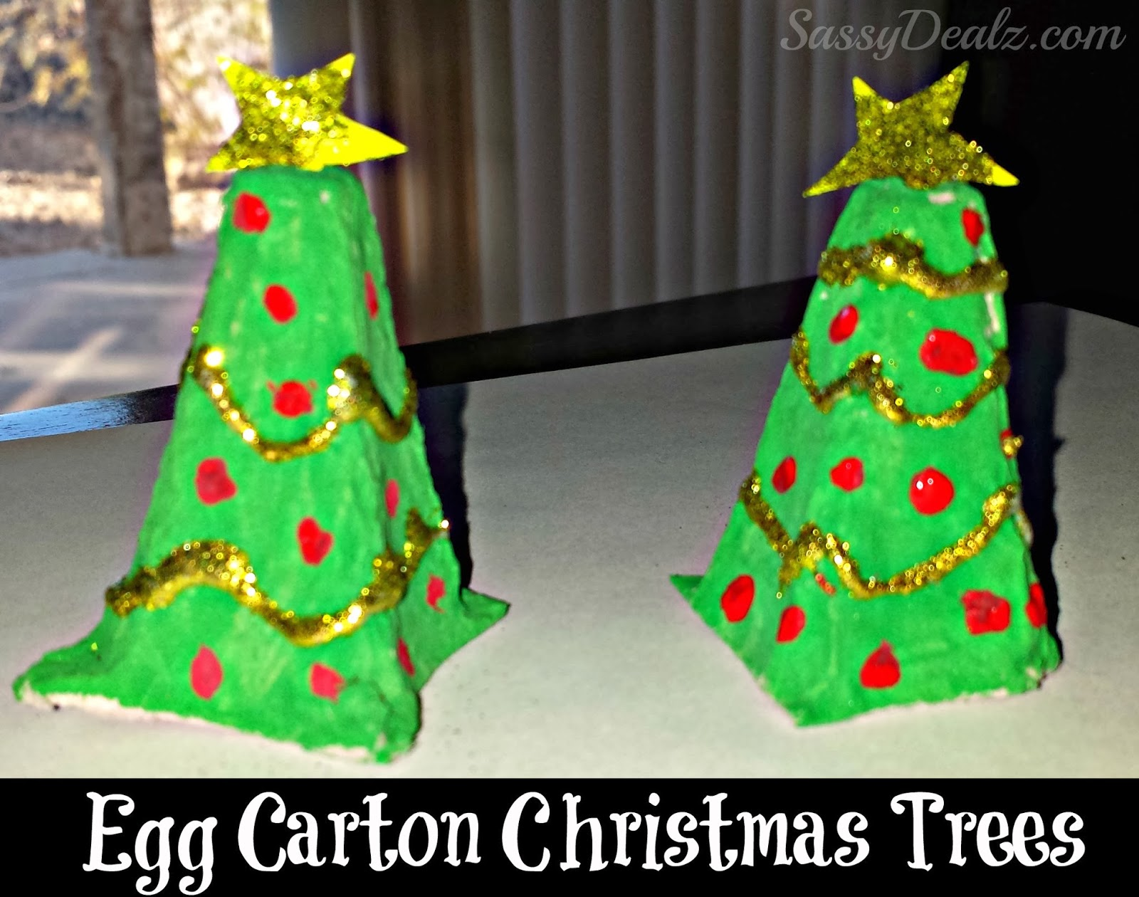 Recycled egg carton christmas tree craft for kids crafty for Christmas decorations using egg cartons