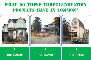 comparison of three renovation projects: classic, ranch and tower, by wo-built inc