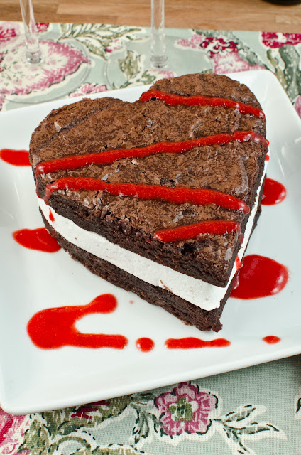 Brownie Marshmallow Sandwich with Strawberry Sauce
