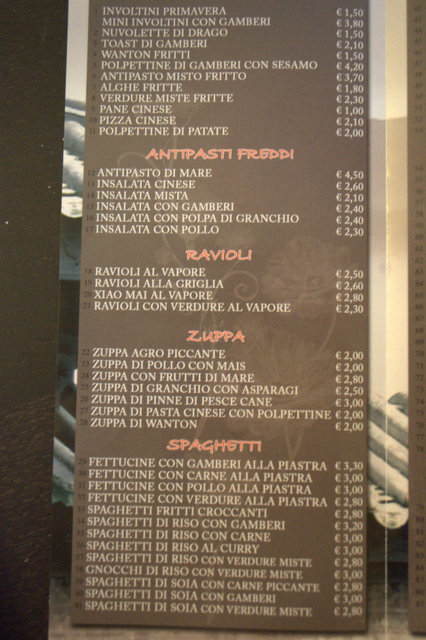 ordering chinese in italian