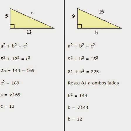 matem225ticas y teoremas ejercicios teorema de pitagoras