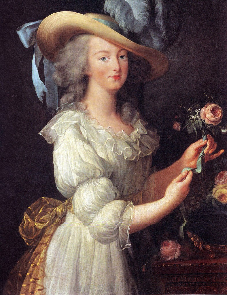 Portrait of Marie Antionette en gaulle with a rose, flowy dress, hat with blue ribbons