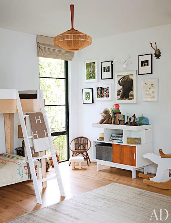 white mod childrens room, bunk beds, Hermes blanket,