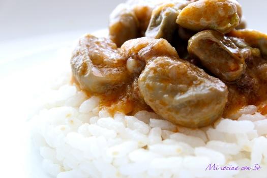 Mi cocina con so guiso de habas frescas con arroz - Habas frescas con jamon ...