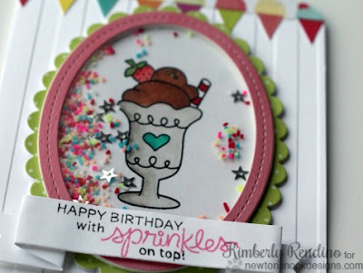 Ice cream birthday card for Newton's Nook Designs by Kimberly Rendino | Summer Scoops | sprinkles | shaker card
