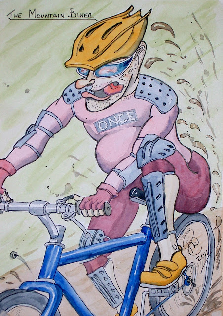 Cartoon picture of mountain biker