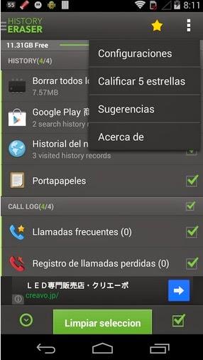 Aplicaciones gratis – Aplicación para borrar todo el historial de mi teléfono Android