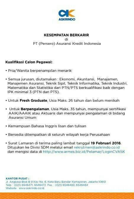 Lowongan Kerja Asuransi Kredit Indonesia (Askrindo)