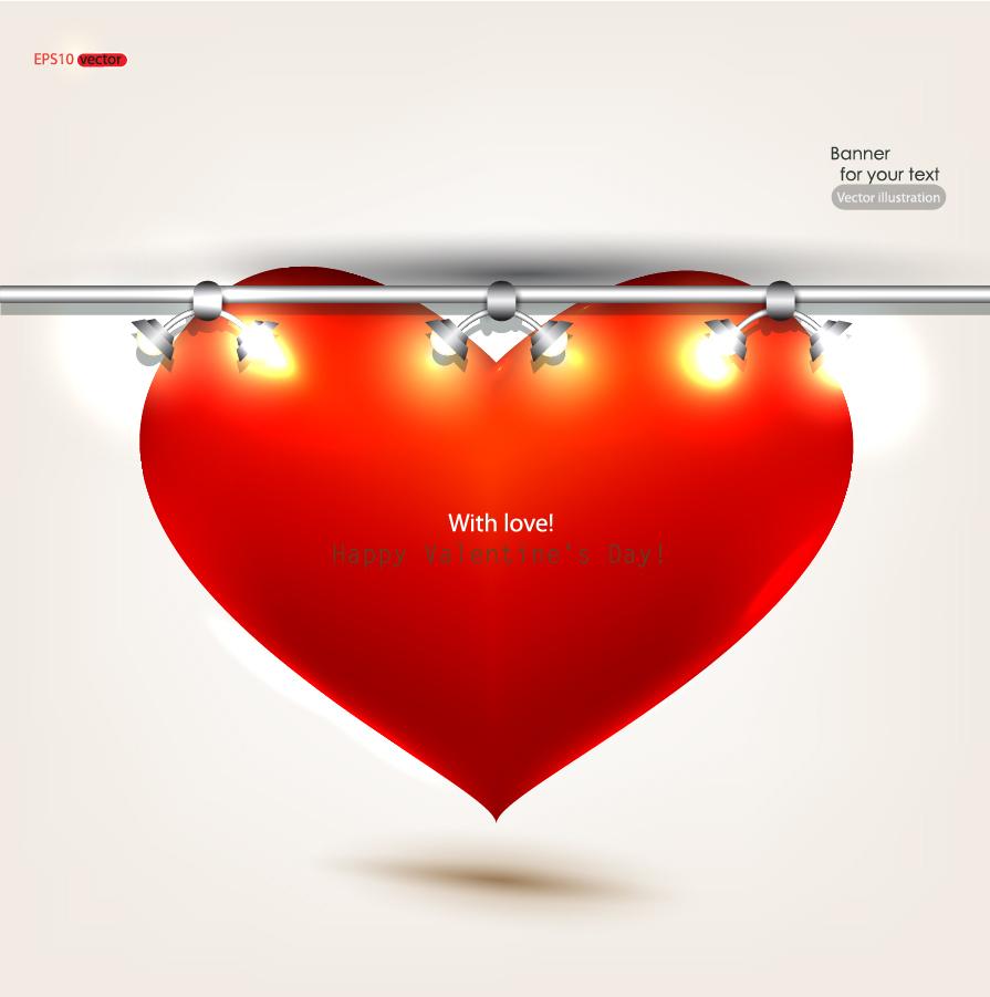バレンタインデー ハートを背景にしたスポットライト Valentine's Day heart spotlights イラスト素材
