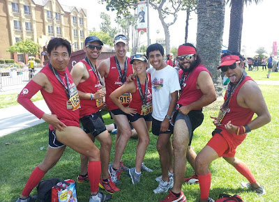 Melissa Adylia Calasanz of Controlled Burn Fitness with Team ARC Party Pace at the Pasadena Marathon 2012