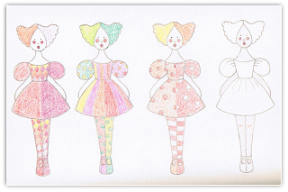 clown girl free hand embroidery pattern