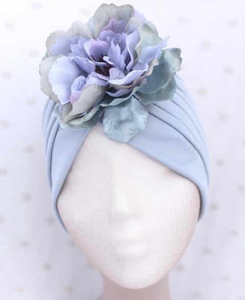 Colección Buceando - Turbante gris flor lila