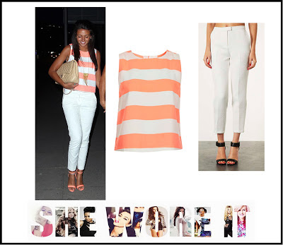 White, Cigarette Trousers, Coral, Orange, Cream, Stripe, Shell, Top, Sleeveless, Topshop, Michelle Keegan, River Island, Straight Leg, Cropped,