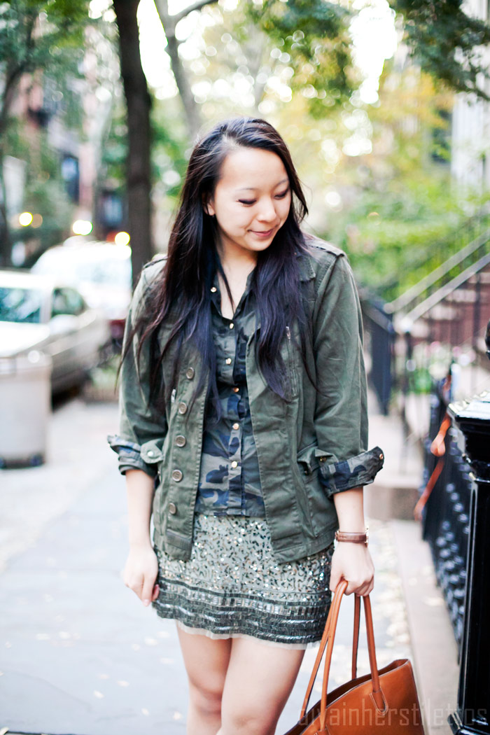 camo button up blouse shirt, topshop military jacket, zara beaded skirt, green monotone dressing, bodhi tote bag, mango leather pumps, new york fashion blog, street style, diya liu