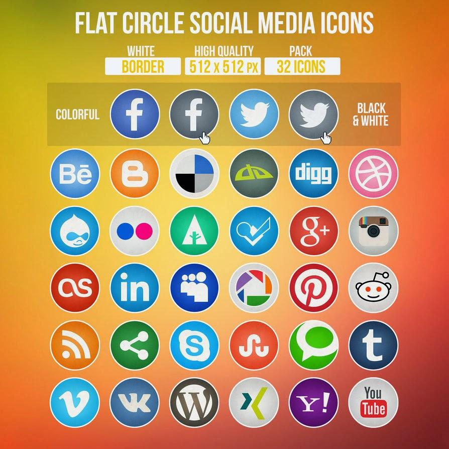 32 Circle Social Media Icons