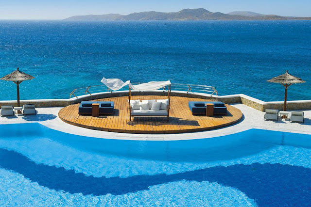 Mykonos Grand Hotel & Resort in Mykonos Island in Greece. A 5 star luxury beach resort inspirationally conceived to capture the essence of surrounding natural wonders and host the most welcome and appreciated guests with world class luxury.